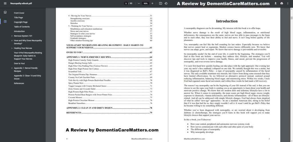 A look at the Neuropathy No More's Table of Contents.
